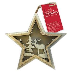 Figura colgante con luz Create Christmas Star Stag Tree
