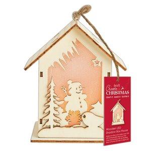 Figura colgante con luz Create Christmas Big House Snowman