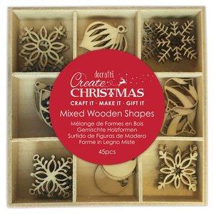 Set de maderitas Create Christmas Baubles & Flakes