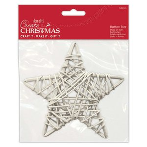 Forma de rattan Create Christmas White Star 14 cm