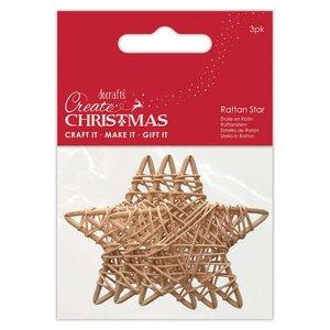 Formas de rattan Create Christmas Stars 6 cm 3 pcs