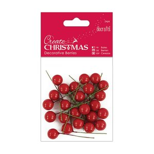 Decorative Berries Create Christmas Red 24 pcs