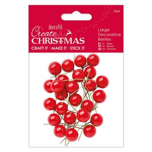 Decorative Berries Create Christmas Large Red 24 pcs