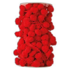 Pom Pom Trim Create Christmas Red 3 metros