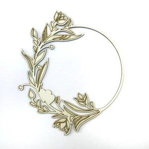 Chipboard Fridita Corona flores y doble corazón