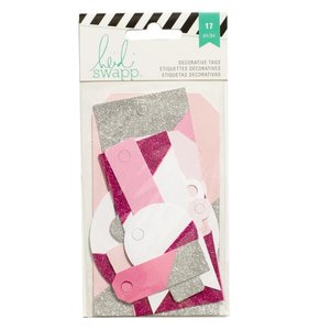 Tags variados Pink, White & Glitter Silver
