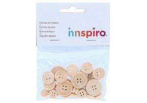 Set de botones surtidos de madera 30 pcs