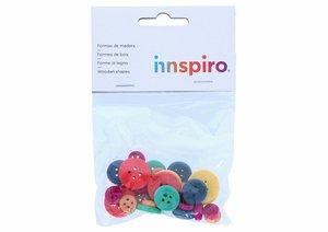 Set de botones surtidos de madera Mix colores 30 pcs
