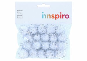 Set de pompones brillantes Blancos 25 mm 20 pcs