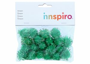 Set de pompones brillantes Verdes 25 mm 20 pcs