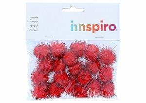 Set de pompones brillantes Rojos 25 mm 20 pcs
