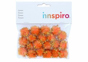 Set de pompones brillantes Naranjas 25 mm 20 pcs
