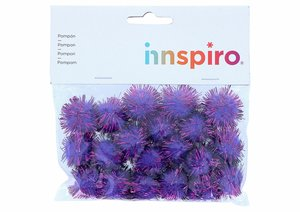 Set de pompones brillantes Lilas 25 mm 20 pcs
