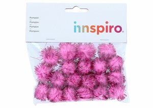 Set de pompones brillantes Rosas 25 mm 20 pcs