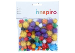 Set de pompones brillantes Mix colores y medidas 78 pcs