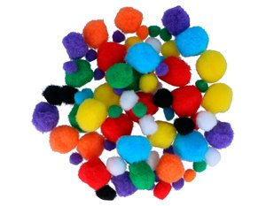 Set de pompones Mix colores y medidas 78 pcs