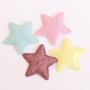 Adornos Estrellas de tela con glitter iridiscente con cosidos 4 pcs