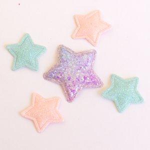 Adornos Estrellas de tela con glitter iridiscente surtido 5 pcs