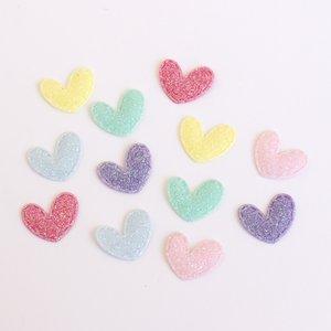 Adornos Mini Corazones de tela con glitter iridiscente 12 pcs