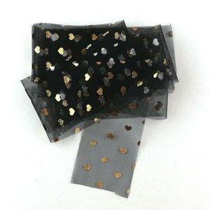 Cinta Kora Projects de Tul con corazones dorados Negro