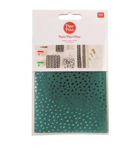 Set papel decoupage 3 hojas 30x42 cm Hygge Dots Green