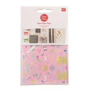 Set papel decoupage 3 hojas 30x42 cm Wonderland Pink