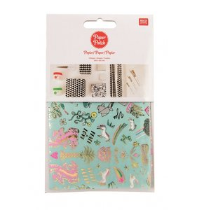 Set papel decoupage 3 hojas 30x42 cm Wonderland Mint