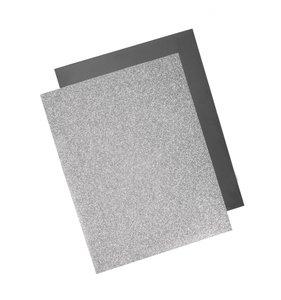Láminas de transfer textil purpurina y foil plateado