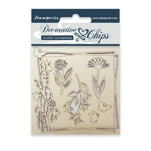 Stampería Decorative Chips Flowers and Butterfly