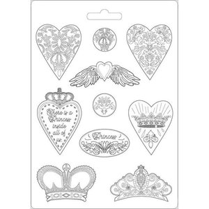Molde flexible A4 Stampería Princess Hearts & Crowns