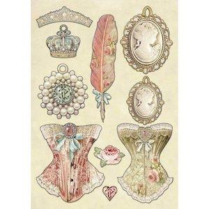 Hoja con formas de madera coloreadas Stampería Princess