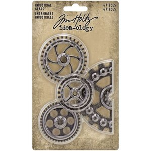 Tim Holtz Idea-Ology Metal Industrial Gears Antique Nickel 4 pcs