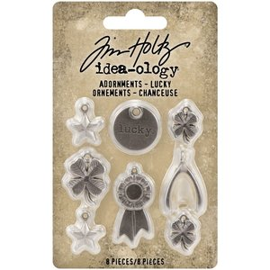 Tim Holtz Idea-Ology Metal Adornments Lucky 8 pcs
