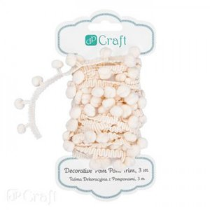 Decorative Pom-Pom Trim 3 m Ecru