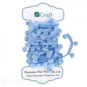 Decorative Pom-Pom Trim 3 m Blue