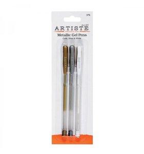 Bolígrafos tinta gel Oro, Plata y Blanco