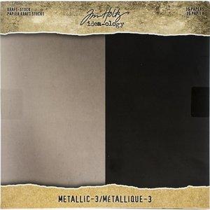 """Stack cartulina metalizada 8"""" x 8"""" Tim Holtz Kraft-Stock"""