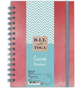 Cuaderno espiral A5 Coral con hojas azules
