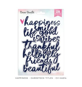 Die cuts de palabras Happiness