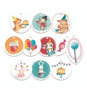 Tags círculos decorados Happy Birthday