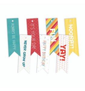 Tags banderolas con mensaje Happy Birthday