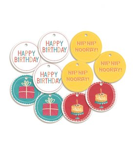 Tags círculos con mensaje Happy Birthday