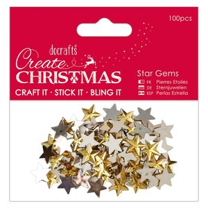 Gemas estrellas doradas Create Christmas 100 pcs