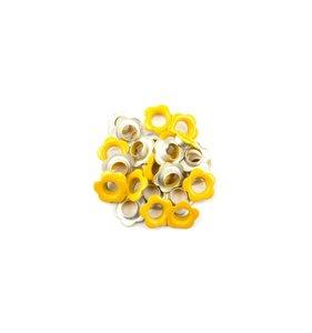Eyelets 5 mm Yellow Flowers 25 pk