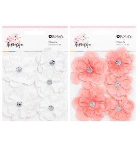 Flores de papel Arabesque rosas y blancas