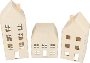 Set de casitas de madera en 3D