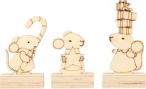 Set figuras con peana ratones 6 pcs