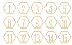 Hexágonos con números col. Nos Casamos de Artemio
