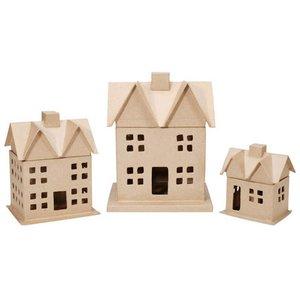 Set de 3 casas de papel maché 30 cm de alto