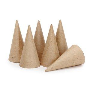 Set de 6 conos de papel maché 10 cm